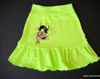 Rock, tiered skirt, Gr. 116/122, neon, girl