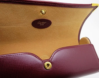 CARTIER EYEGLASS CASE ~ Bordeaux Leather, Hard Shell Case
