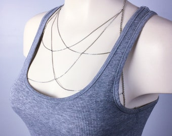Shoulder Chain - Shoulder Jewelry - Chain bralette - Stainless shoulder chain - Stainless steel shoulder jewelry - Jewelry lingerie (RJ1071)