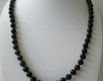 ON SALE Vintage TRIFARI Stamped Black Plastic Beads Necklace 121216