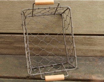 Rustic Wire Basket | Farmhouse Decor | Gift Basket | Storage & Organization | 5.5 x 4.25 Storage Basket Craft Supplies
