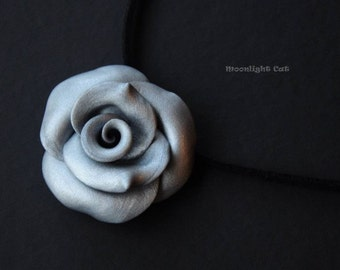 Silver Grey Rose Necklace, Rose Pendant, Flower Jewellery, Polymer Clay Rose, Silver Rose, Large Rose Pendant