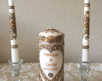 Personalized unity candle set/ wedding unity candle set/ custom candles/ wedding candles/ henna paste decorated /personalized wedding candle