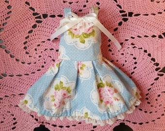 Blue flowered lolita dress for Slim MSD BJD