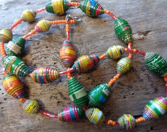 Natural Handmade African Paper Bead Necklace.
