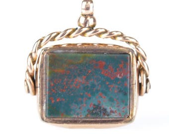 Carnelian And Bloodstone 10kt Rose Gold Watch Fob (Antique)