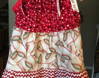 Baby girls baseball dress, baseball dress.