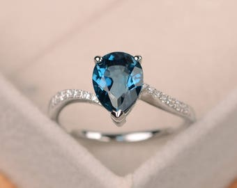 London blue topaz ring, pear shaped engagement ring, silver ring