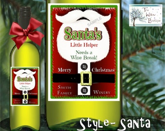 Personalized Wine Labels Holiday Christmas Santa