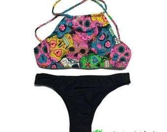 Brazilian Bikini - Brazilian Bathing Suit - Crop top Bikini -  Sugar Skull Bikini - Cross Back Bathing Suit