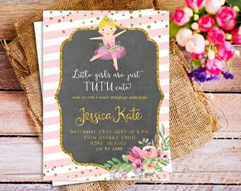 tutu baby spinkle invitation twin baby girl baby shower invitation pink tutu invite