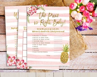 Tropical Pineapple Baby Shower games, Printable Baby Shower Games Package, Tropical Baby Shower Games Set, Summer Shower Games Package