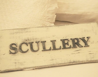 Reclaimed Wooden Hand Painted Scullery Kitchen Sign Free UK Delivery