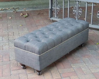 Large Upholstered Bench Ottoman in Charcoal Grey Linen~ Design 59 Furniture