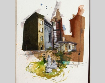 Collage, abstract art, image, girl, urban motif, recycled, paper collage, mixed media, houses, portrait, surreal, abstract architecture