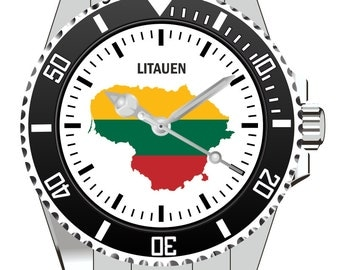 Lithuania country outline clock - watch 1122