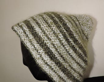 Hat - peaked Cap with white and khaki stripes wool mohair and acrylic