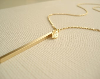 Gold vertical bar w/leaf necklace...Long thin bar, Simple delicate, long layered drop, sorority, best friend gift, wedding, bridesmaid gift