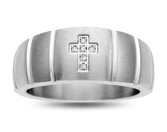 Cross Band Ring Stainless Steel Mens Diamond Accent