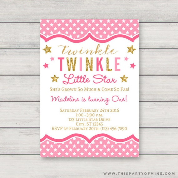 Twinkle Twinkle Little Star Invitation Printable Pink and Gold