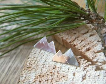 Sterling Silver Double Snowy Mountain Stud Earrings