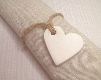 Wedding favours, personalised wedding decor, heart tags, clay tags, keepsake, table decor, wedding favors, gift tags, napkin rings.