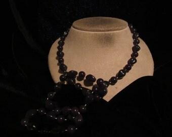 Vintage Long Dark Brown Beaded Necklace