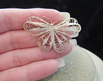 Antique Sterling Silver Butterfly Pin