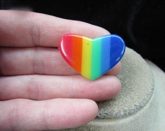 Vintage Rainbow Colored Heart Pin