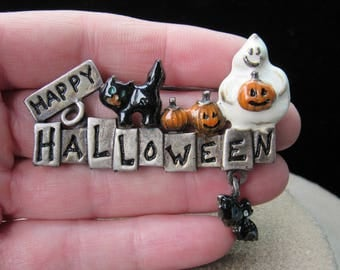 Vintage Halloween Signed TC Enameled Pin With Dangling Bat Charm-Says- Happy Halloween