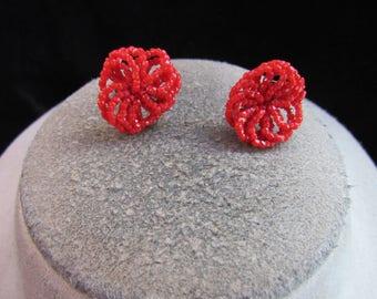 Vintage Pair Of Goldtone Red Glass Beaded Screw Back Earrings