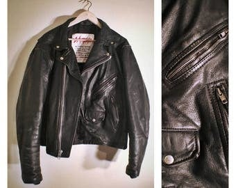 80s hand-crafted LA Roxx black genuine leather jacket