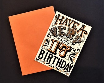 orange black and white hand lettered customized birthday year card
