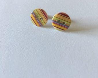 Multicoloured Stripe Button Stud Earrings - Button Earrings - Stripe Earrings