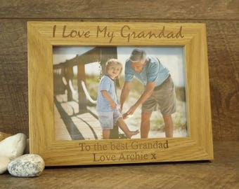 Personalised Engraved Wooden Photo Frame ~ Gift for Grandad ~ Grandpa ~ Dad ~ Fathers Day, Birthday, Christmas Gift