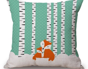 Fox Pillow, Animal Pillow, Pillow Case, Fox