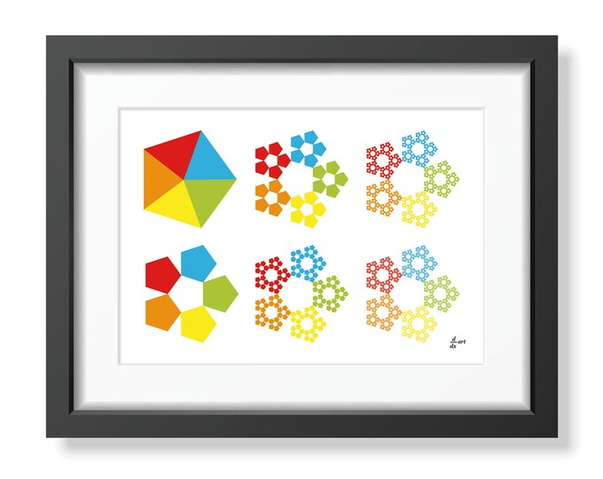 Sierpinski pentagons 01 [mathematical abstract art print, unframed] A4/A3 sizes