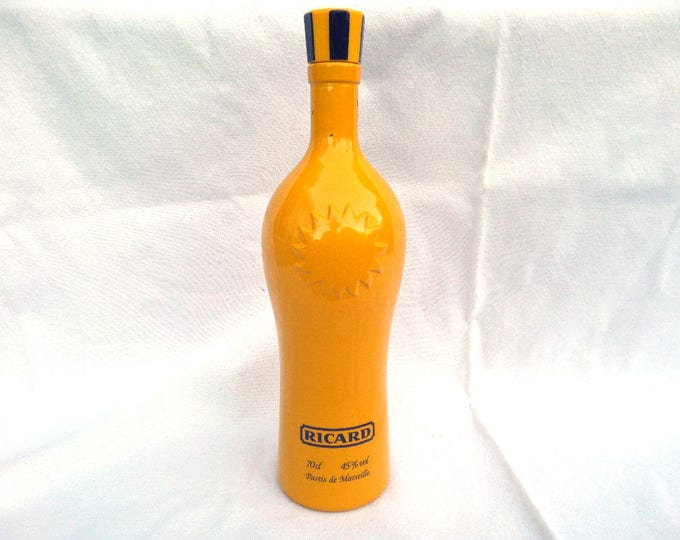"Ricard Bottle, Limited Edition Yellow Sun Emblem, French Aperitif Drink, 1980's Empty Glass Bottle, 12"" x 3.5"", Excellent Vintage Condition"