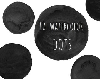 Buy 3 for 9 USD - Dots watercolor, Circles, Bubbles, Handpainted watercolor, digital clipart, cards, black PNG