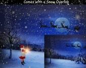 DIGITAL Background, backdrop, Christmas Eve, Santa over Moon, for photographers, photography: Christmas Eve with Santa