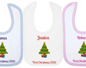 Personalised First Chirstmas 2016 Baby Bib With Christmas Tree. Available in WHITE, PINK or BLUE