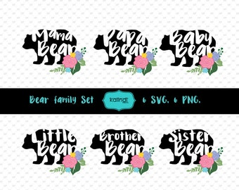 Mama Bear svg, Flowers vector graphic, Papa Bear svg, svg files, Baby Bear svg ID#TRBF1