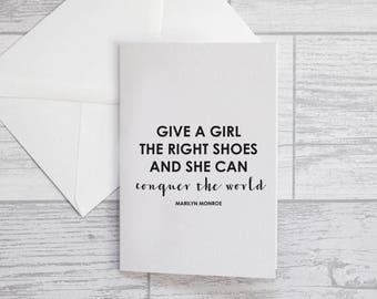 Shoe Quote Card - Marilyn Monroe Shoe Quote Card