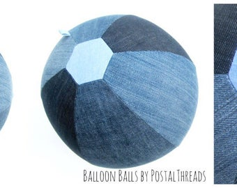 Upcycled Denim Fabric Balloon Ball Cover by PostalThreads//reusable//ombre//bouncy//round//blue jean//cotton//denim//washable//gift//sporty