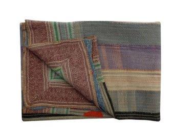 Twin Sari Reversible Kantha Quilt Vintage Sari Kantha Throw