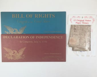 Bill of Rights, United States Constitution, 13 Original States Paper Money, Facsimile, Vintage America's Freedom Documents, Gettysburg, PA