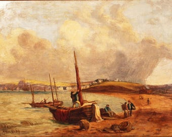 Antique Oil Painting. Budleigh Salterton. By Joseph Kennedy 1838 - 1893
