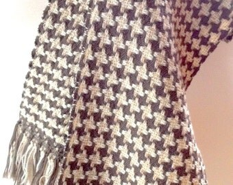Scarf handwoven, wool-poly 90/10