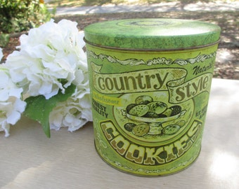 Country Style Cookie Tin, Vintage Tin, Cookie Jar, Collectible Canister