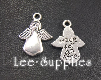 20pcs Antique Silver Made For An Angel Charms Pendant A1950